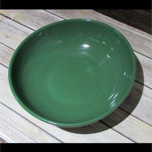 Vtg Dark Green Serving Fruit Bowl Ceramic MCM